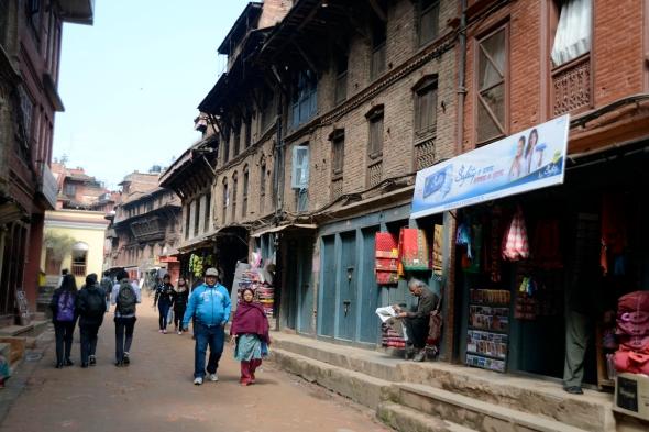 Straatbeeld Bhaktapur Nepal reisblog