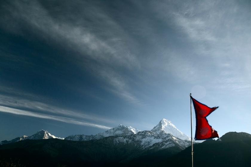 Nepali flag Annapurna blog